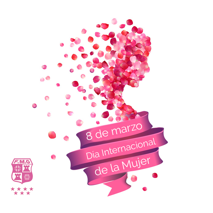 8 march. Happy Woman's Day! Silhouette of a woman of pink rose p